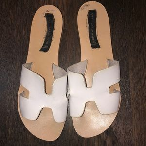 Steve Madden Greece White Leather Sandals